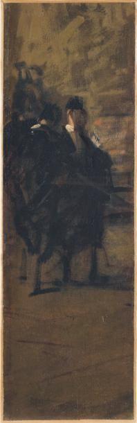 JEAN-LOUIS FORAIN (1852-1931) L'arrivée des huissiers Huile sur toile. Elément d'un...