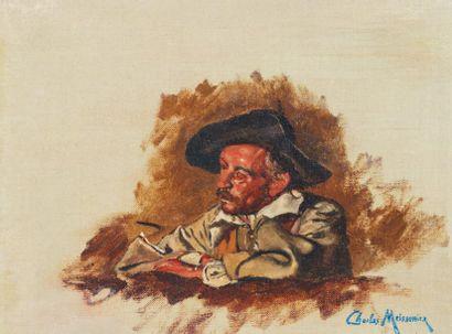 CHARLES MEISSONIER (1848-1917) Portrait d'homme Huile sur toile. Cachet de l'atelier...