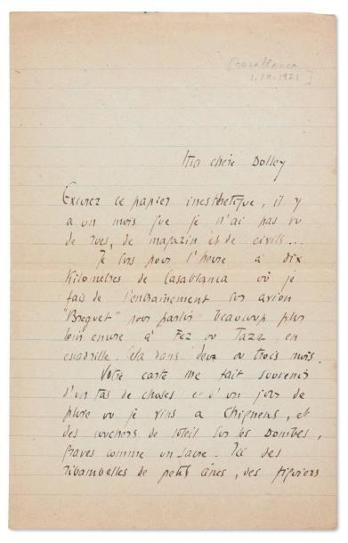 SAINT-EXUPÉRY, Antoine de Lettre autographe signée « Antoine », 2 ½ pages in-8; (Casablanca,...