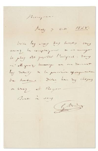 VERDI Giuseppe (1813-1901) Compositeur italien. Lettre autographe signée, ¾ de page...
