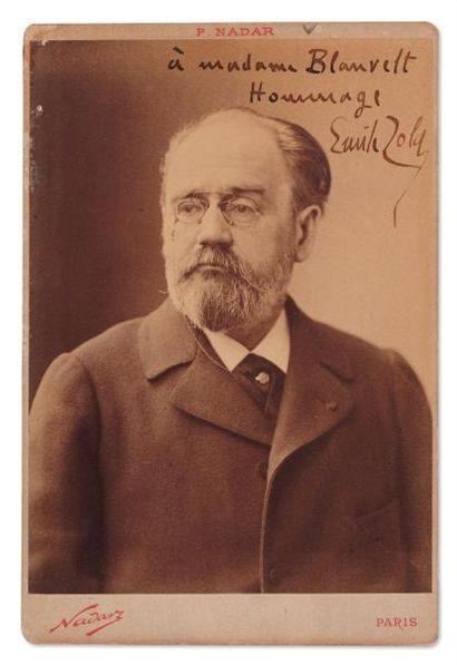 ZOLA Emile Photo-cabinet avec dédicace autographe signée. Cliché Nadar vers 1890....