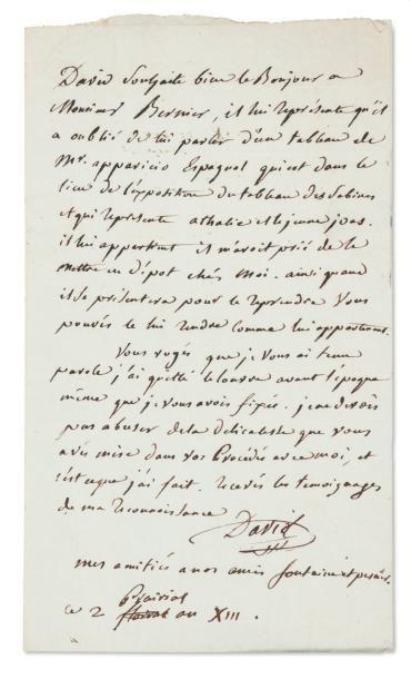 DAVID Jacques-Louis (1748-1825) Peintre et conventionnel français. Lettre autographe...