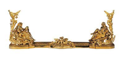 Barre de foyer en bronze doré à décor de...