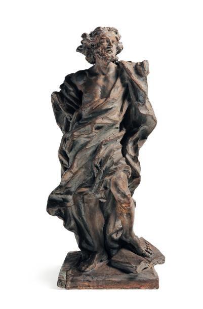 Etude en terre cuite peinte en gris représentant...