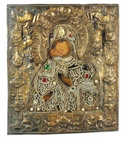 Vierge de Vladimir, Russie, vers 18OO Broderie...