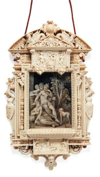 Miniature dans un cadre en ivoire finement...