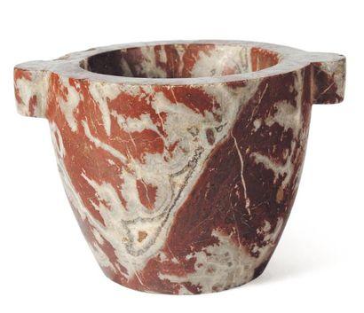 Mortier en marbre rouge veiné gris à deux...
