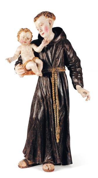 Saint Antoine de Padoue en bois sculpté,...