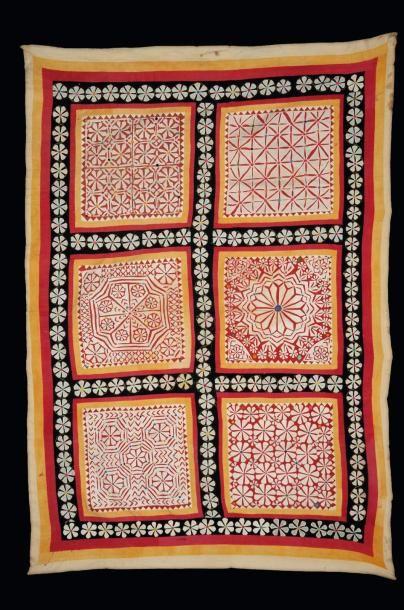 Textiles Kutch en coton et soie, à décor...