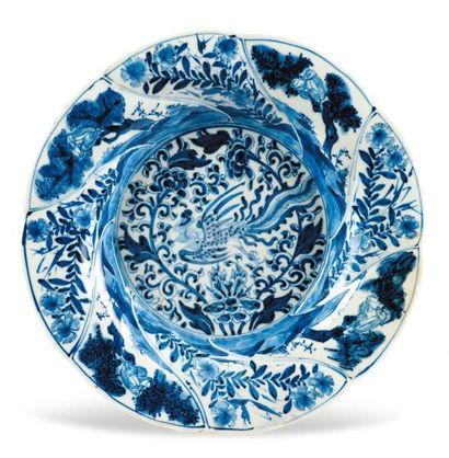 Assiette creuse et lobée en porcelaine bleu/blanc,...
