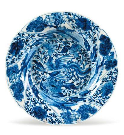 Assiette creuse en porcelaine bleu/blanc....