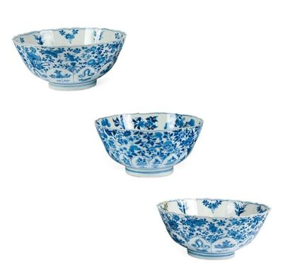 Paire de bols en porcelaine bleu/blanc et...