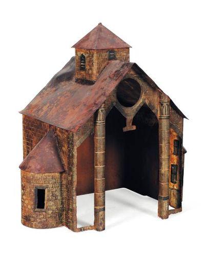 Maquette de Chapelle en tôle peinte ajourée H_72 cm L_70 cm P_44,5 cm