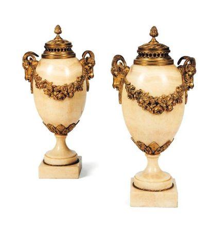 Paire de vases en marbre blanc et bronze...
