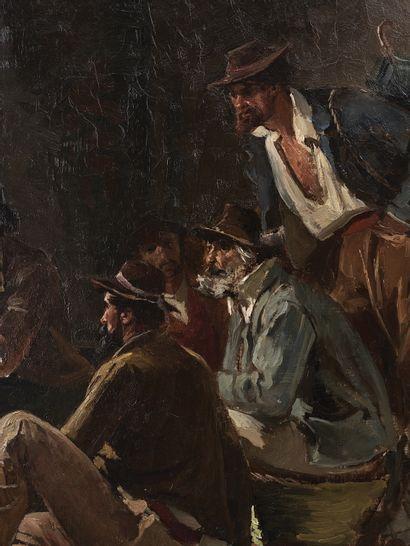 LÉON PHILIPPET (1843 LIÈGE, 1906 BRUXELLES) « Au ghetto à Rome » Huile sur toile...