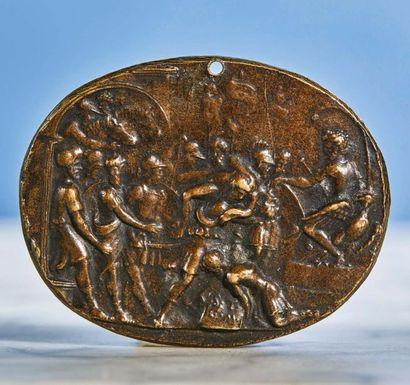 PLAQUETTE ovale en bronze patiné représentant...