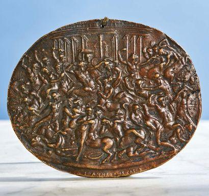 PLAQUETTE ovale en bronze représentant le...