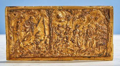 PLAQUE en bronze doré représentant Moïse...