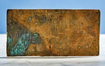 PLAQUE en bronze doré représentant Moïse faisant jaillir l'eau du rocher (Exode...