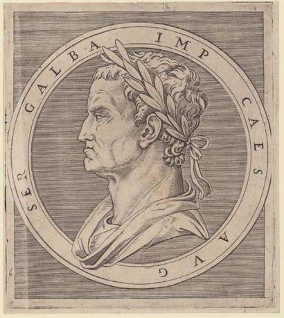 IMPORTANT MÉDAILLON en émail peint en grisaille sur fond noir avec rehauts d'or...
