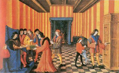 RARE COFFRE à couvercle bombé, dit bahut de voyage, en bois peint en rouge recouvert...