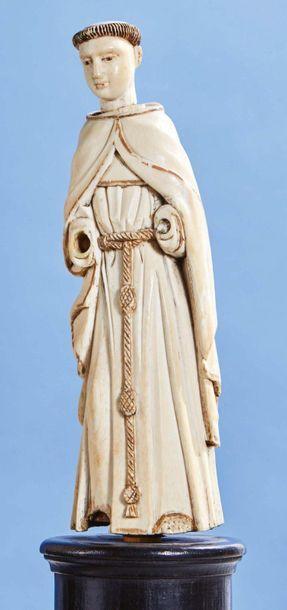 Saint Moine (saint François ?) en ivoire...