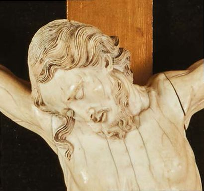 Large crucifix painting with Christ in ivory. Head with closed eyes inclined on...