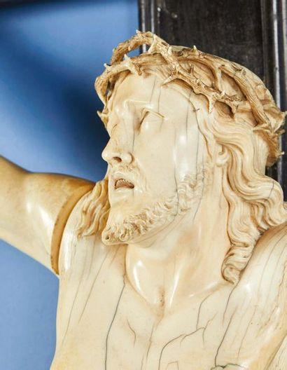 Grand crucifix avec Christ vivant en ivoire sculpté et croix en bois noirci. Tête...