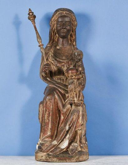 Importante Vierge à l'Enfant en chêne sculpté...