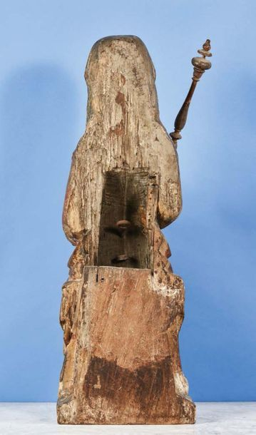Important Virgin and Child in oak carved with polychrome remains, hollowed back....