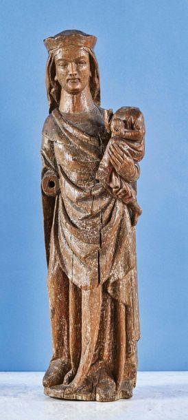 Vierge à l'Enfant en chêne sculpté avec traces...