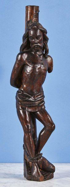 Christ à la colonne en noyer sculpté. Rhin...