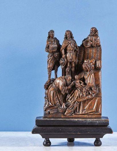 L'Adoration des Mages en chêne sculpté, partie...