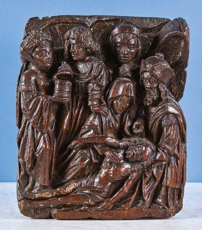La Déposition du Christ en chêne sculpté...