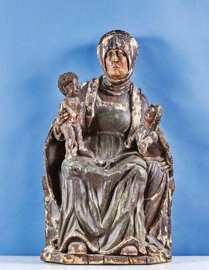 Sainte Anne Trinitaire en tilleul sculpté...