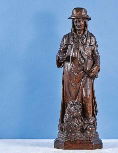 Saint Jérôme en chêne sculpté en ronde-bosse....