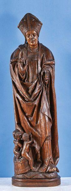 Grand saint Nicolas en chêne sculpté, dos...