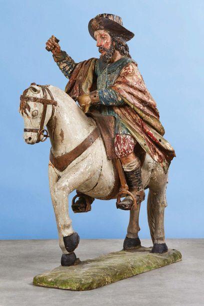 Important saint Jacques à cheval sculpté...