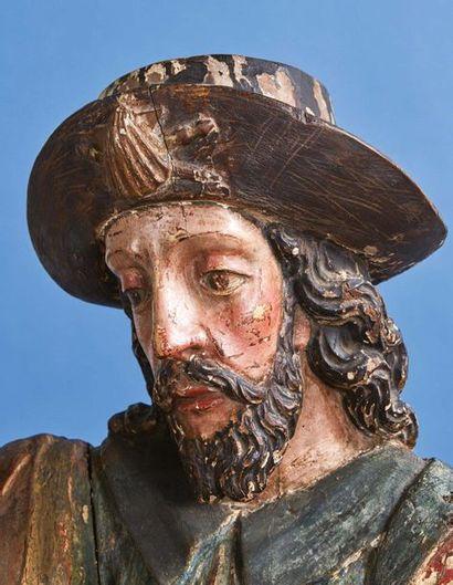 Important saint Jacques à cheval sculpté en ronde-bosse et polychromé, sculpture...