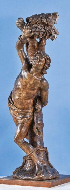 Saint Sébastien en bois (tilleul ?) sculpté...