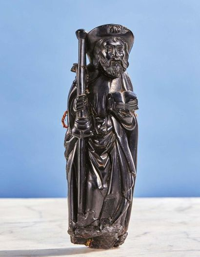 Saint Jacques de Compostelle en jais sculpté...