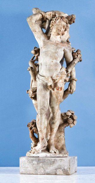 Saint Sébastien en albâtre sculpté en ronde-bosse....