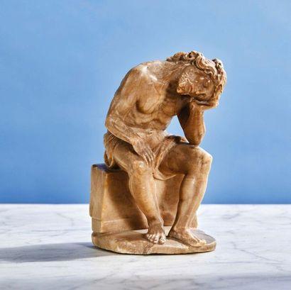 Christ de Pitié en albâtre sculpté en ronde-bosse....
