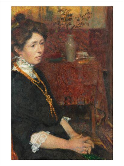 GEORGES LEMMEN (1865-1916) Portrait Maman Huile sur papier cartonné. Porte une étiquette...