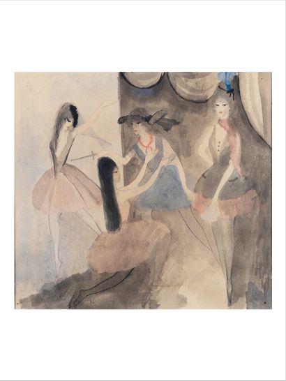 Marie LAURENCIN (1883-1956) Scène de ballet, circa 1913 Aquarelle, encre, lavis d'encre...
