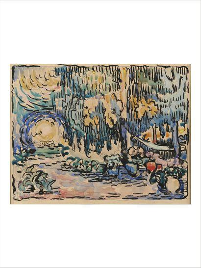 Paul SIGNAC (1863-1935) Le jardin (Saint tropez), circa 1909 Aquarelle, plume et...