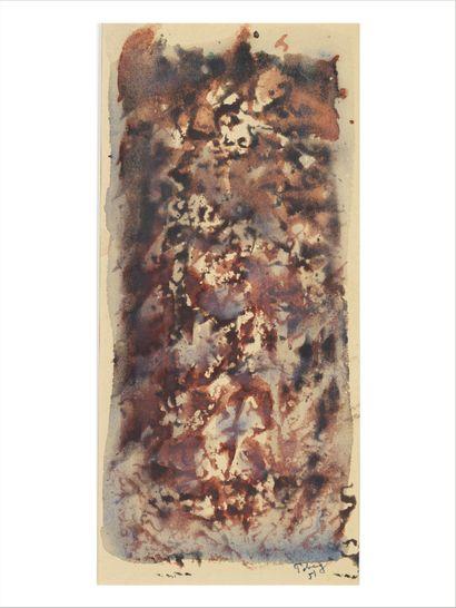 Mark Tobey (1890-1976) Composition, 1951 Dessin à l'aquarelle sur papier. Signée...