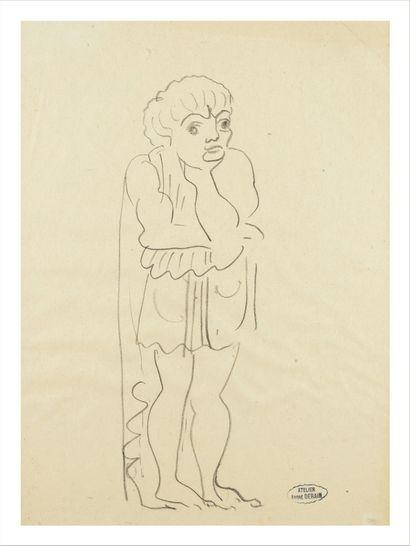 André DERAIN (1880-1954) Personnage Crayon sur papier. Cachet de l'atelier en bas...