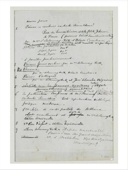 Sonia DELAUNAY (1885-1979) Proposition pour le catalogue de l'exposition à Stockholm,...