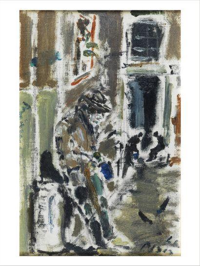 Filippo DE PISIS (1896-1956) Via con fererre, 1941 Huile sur carton. Signée en bas...